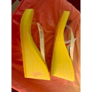 Polo bright yellow wedge sandals size 9